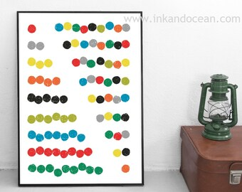 Abacus Counting Canvvas Art Print, mid century inspired art