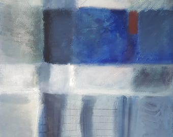 blue white red abstract oil painting on canvas, ready to hang wall art