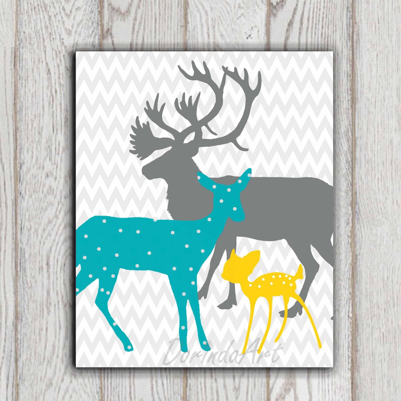 teal yellow gray boy or girls bedroom decor print deer family