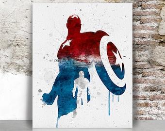 Captain America print, Avengers print, Captain America poster,  Superhero print, Marvel print, Wall decor Gift for men FamouStars