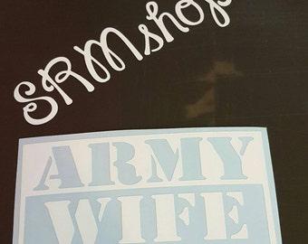 Army wife decal sticker.