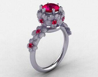 14K White Gold Ruby Flower Wedding Ring, Engagement Ring NN109S-14KWGRR