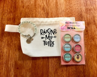 Mother's Day Ultimate Bundle- Custom Magnet Set, Super Mom Bracelet, and Raising My Tribe Canvas Pouch