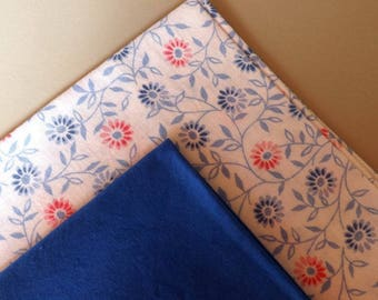 Set of two flowers and blue fabrics coupons