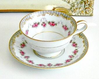 Vintage Noritake Teacup, Noritake Ridgewood 5201, White Porcelain Teacup with Pink Roses, Gilt Trim.