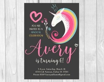 Unicorn Birthday Invitation 5x7 Printable Unicorn Party Invite - Hearts & Rainbow Magical Celebration - Personalized Printable File