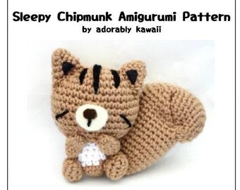 Sleepy Chipmunk Amigurumi Pattern, Chipmunk Crochet Plush, Squirrel Amigurumi, Woodland Nursery Plush, Animal Baby Doll, DIY Sleepy Animal