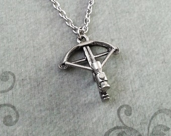 Crossbow Necklace Crossbow Jewelry Archer Necklace Archery Gift Bow Necklace Crossbow Charm Necklace Hunter Necklace Zombie Crossbow Gift