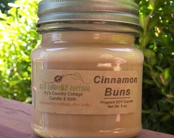 CINNAMON BUNS SOY Candle - Cinnamon Candles, Cinnamon Soy Candles, Scented Candles, Scented Soy Candles, Mason Jar Candles, Spice Candles