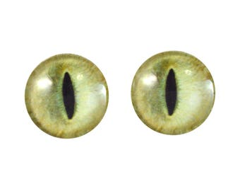 20mm Pale Yellow Cat Glass Eyes Pair of Cabochons - Cat or Dragon Eyes for Doll or Jewelry Making - Set of 2