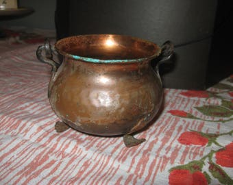 antique hammered copper pot with handle
