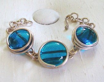Silver Chain Bracelet with Wire-Wrapped Blue Glass Discs - Hook Clasp - 7 1/2 inches