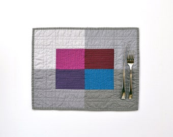 Modern Placemats, Quilted Placemats, Grey Table Decor, Grey Placemats, Jewel Tone, SET OF 2