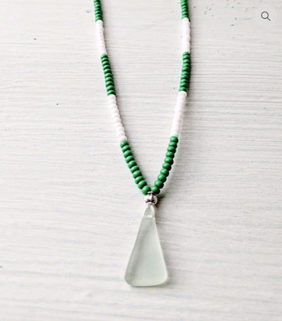 Sea Glass Necklace // Beaded Green & White Bohemian Necklace // The Beach Hut Necklace // Bohemian