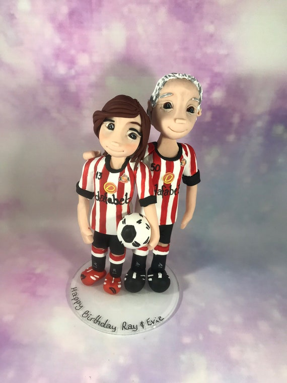 personalised Wedding Cake Topper bride and groom figures in Football strip - Football Theme