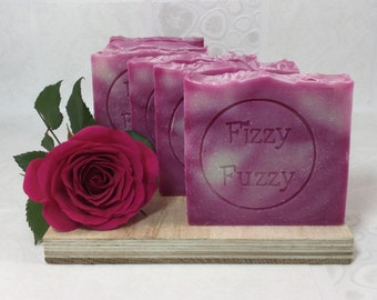 Relaxing Rose Handmade Soap with Shea Butter. By Fizzy Fuzzy.
