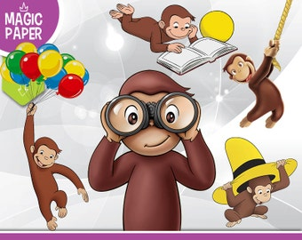 Curious George Clipart - Digital 300 DPI PNG Images, Photos, Scrapbook, Digital, Cliparts - Instant Download