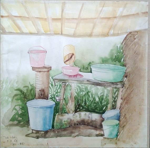 """WASH UP 11x11"""" watercolor on paper, live painting, Mekong Delta (Trà Vinh), original by Nguyen Ly Phuong Ngoc"""