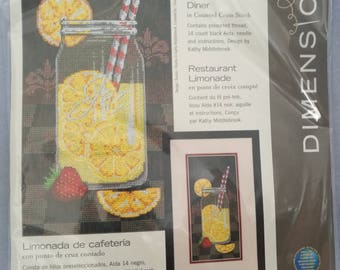 """Summer Lemonaide Diner Counted Cross Stitch Kit Dimensions 6"""" x 12"""""""