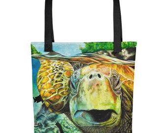 Green Sea Turtle Acrylic Painting Printed on Tote bag