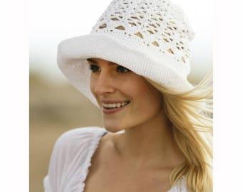 Women's Summer Hat Women's Lightweight Hat Handmade Hat for Women Lacy Stitch Hat White Cotton Hat