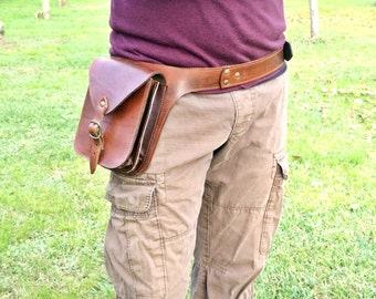 Men's leather pouch, Utility bag with two internal compartments. Comfortable, spacious and durable. Gift Idea For those who are always on the move!