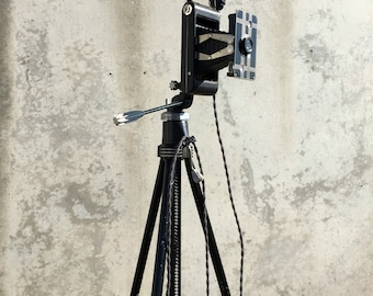 Tripod Floor Lamp, Camera Tripod Lamp, Antique Camera, Jiffy Kodak Six-16 Camera, Industrial Floor Lamp, Star D Comet Adjustable Tripod