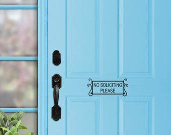 No Soliciting Please Decal, No Soliciting Decal, no soliciting Sign Door decal No Solicitation, Window decal, Front Door Decal sign