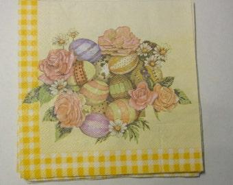 Decoupage Napkins,  vintage paper napkins, easter eggs