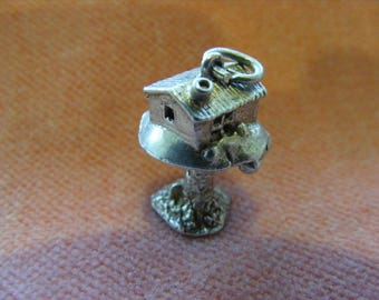 B) Vintage Sterling Silver Charm Toadstool house opens to a pixie