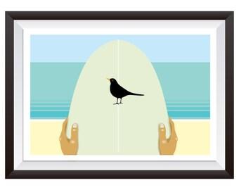 Blackbird on Surfboard Decal