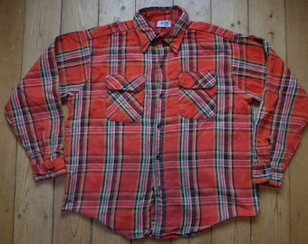 Vintage Mr Leggs Flannel Check Shirt Red Size XL Made in USA vintage workwear ivy style rockabilly