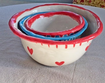 Holdiay Bowl Set, Gift Bowl Gift, Mixing Bowl Nesting 3, Rustic Bowl, Blue, Star,Red, Heart Polka Dot Pottery, Gift, Inscribed