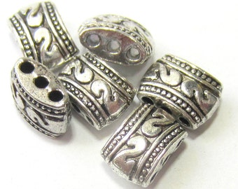 24 Spacer beads antique silver spacer multi strand 3 hole slider bead  445Y(YY2)