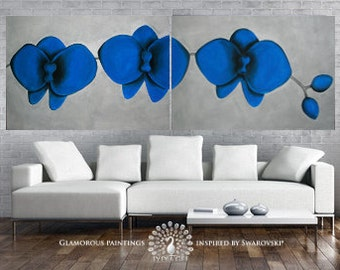 LARGE wall art Blue Orchids original art diptych & Swarovski® crystals. XXL still life painting. Blue painting. Original painting. Lydia Gee