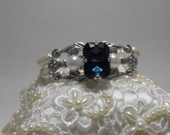 Dark Sapphire wedding bracelet pearl wedding bracelet wedding jewelry bridal braclet wedding accessories bridal accessories Art deco