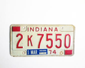 Vintage License Plate -Indiana 1974