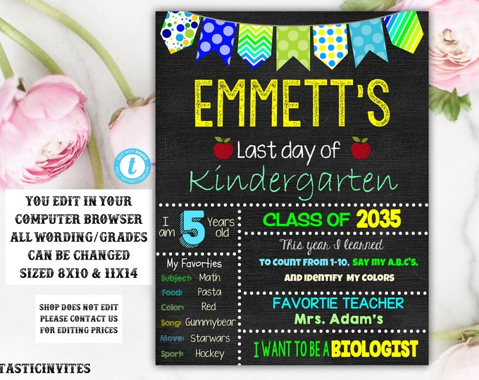 Last day of School Sign Chalkboard Template, Instant Download, Editable, Printable, Last Day of, Last Day, Any Grade, Chalkboard Sign, Boy
