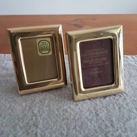Lot of 2 miniature solid brass picture frames, wallet size photos ...