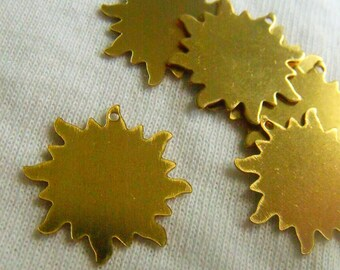 Good Day Sunshine Small Brass Sun Charms or Stamp Blanks 20mm 6 Pcs