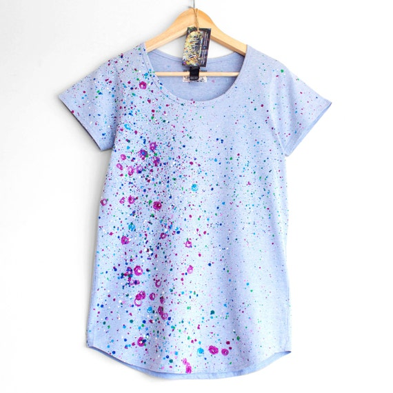 XS M XL Roses and Violets. T shirt for woman or girl. Hand painted tee. Unique ladies t shirts. Blue and Floral.