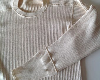 60s Swedish Military Cream Ribbed Knit Thermal, Vintage Off- White Undershirt Sweden Army Rib Henley, Cotton Layer Crew Neck Small Medium