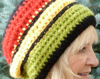 Slouchy beanie that's a rasta hat, this colorful hat in red, yellow, green and black, will take you to the islands, original crochet hat