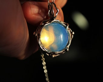 Sterling Silver Pendant with sky blue Opal