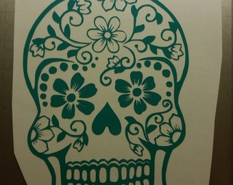 Sugar Skull Vinyl Decal for your yeti, car, tumblers or anything outdoors