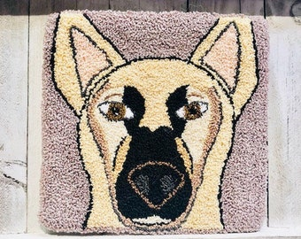 "Mailed Punch Needle Embroidery Pattern - ""Georgie the German Shepherd"" 5.5 x 5 inches"