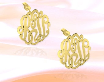 Monogram Earrings - .5 inch 24K Gold Plated Sterling Silver Handcrafted - Personalized Initial Earrings - Made in USA