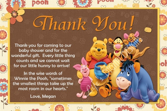 Winnie the Pooh Thank You Card Baby Shower Thank You
