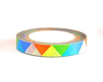 Washi Tape - Rainbow Triangle - no.547 // 8mm x 10m