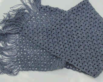 Crochet Scarf, Crocheted Scarf, Summer Scarf, Blue Scarf, Scarves, Lace Scarf, Gift for Her, Slate Blue Scarf, Cotton Scarf, Hand Crocheted